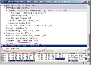 פקטת מידע נכנס שהתקבל באמצעות Wireshark