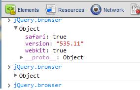 צילום מסך של אובייקט jQuery.browser