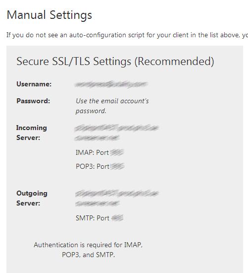 הגדרות SMTP שמופיעות לאחר הגדרת חשבון מייל בספק אכסון